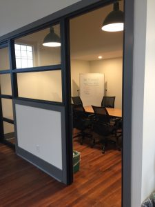 One of several private meeting rooms